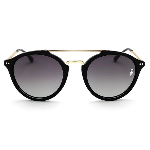 Aviator style sunglasses trendy black frame with gold temples fashion gradient gray lens front view
