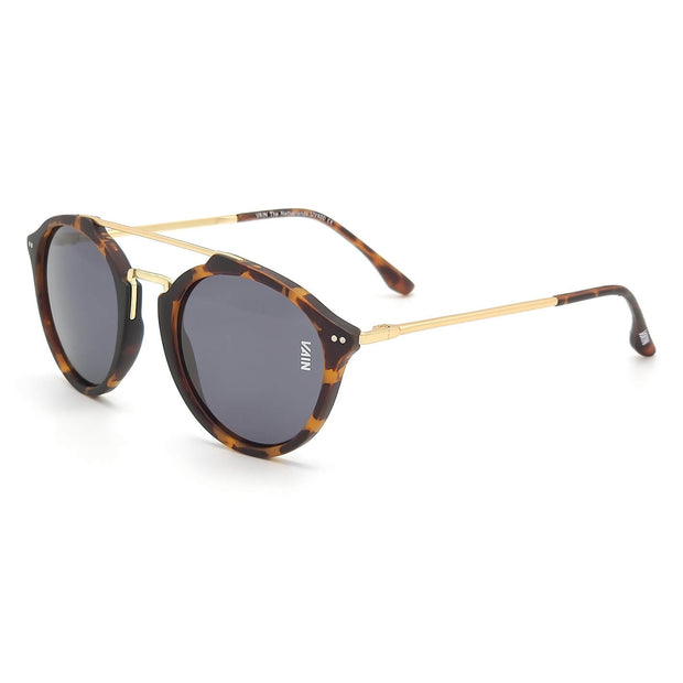 Aviator style sunglasses trendy turtoise frame with gold temples fashion gray lens front view