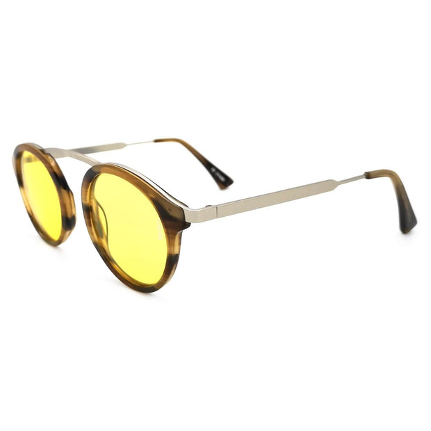 Cambridge exclusive round sunglasses turtoise striped frame high nose bridge medium size metal frame