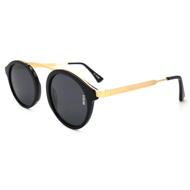Cambridge exclusive round sunglasses matte black frame high nose bridge medium size metal frame