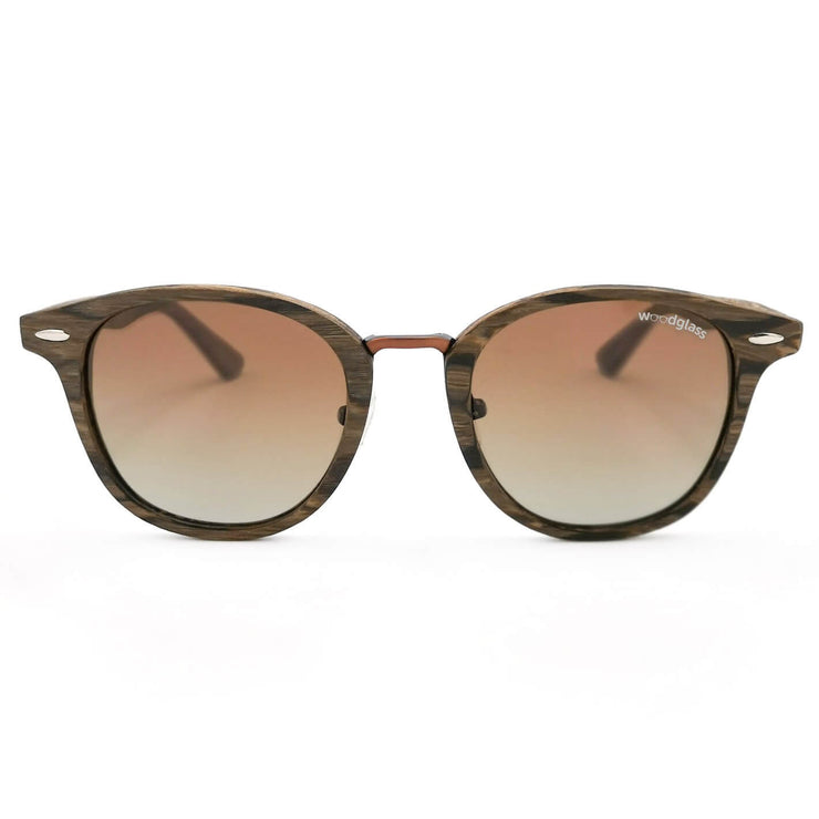 Cape wood immitation sunglasses wooden look dark walnut log woodglass from VAIN sunglasses gradient brown lens CE3 UV400