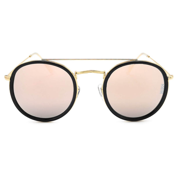 Dublin trendy round sunglasses from VAIN, classic looking sunglasses with a touch of gold and pink mirror lenses, polarized, CE3 & UV400