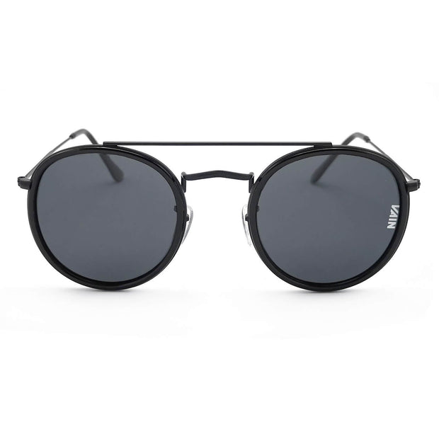 Dublin trendy round sunglasses from VAIN, classic looking sunglasses with all black, polarized, CE3 & UV400