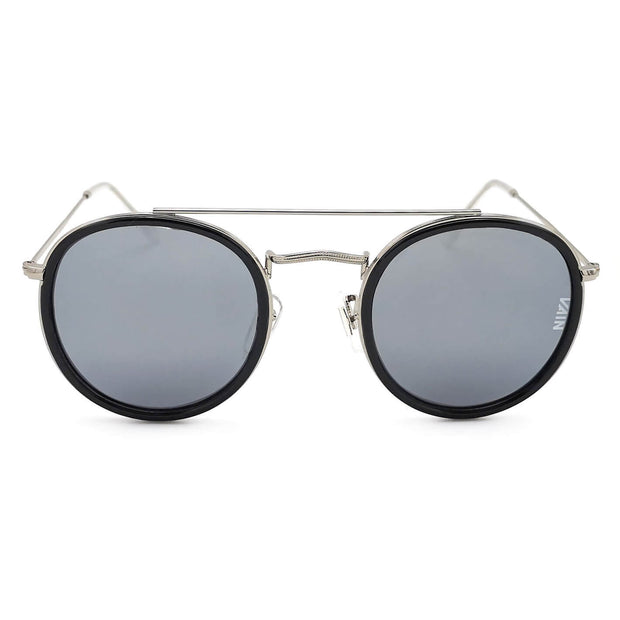 Dublin trendy round sunglasses from VAIN, classic looking sunglasses with silver mirror, polarized, CE3 & UV400