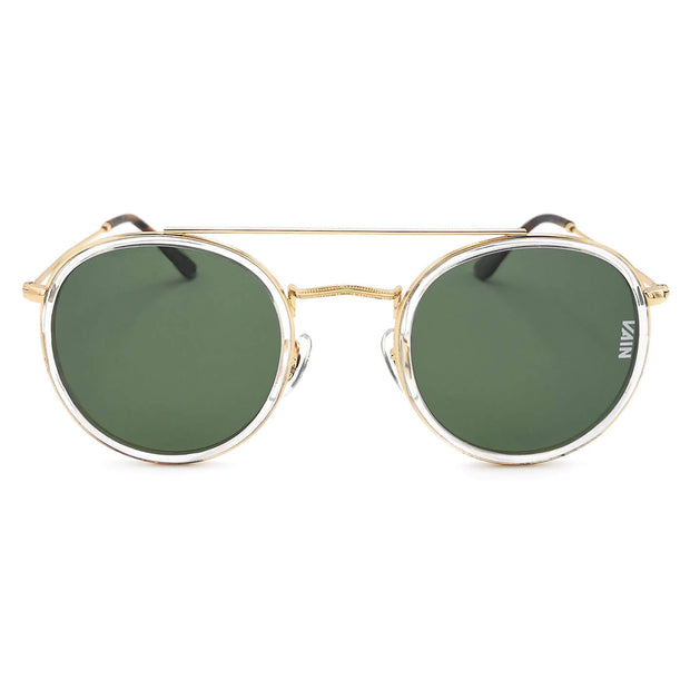 Round sunglasses with green lenses