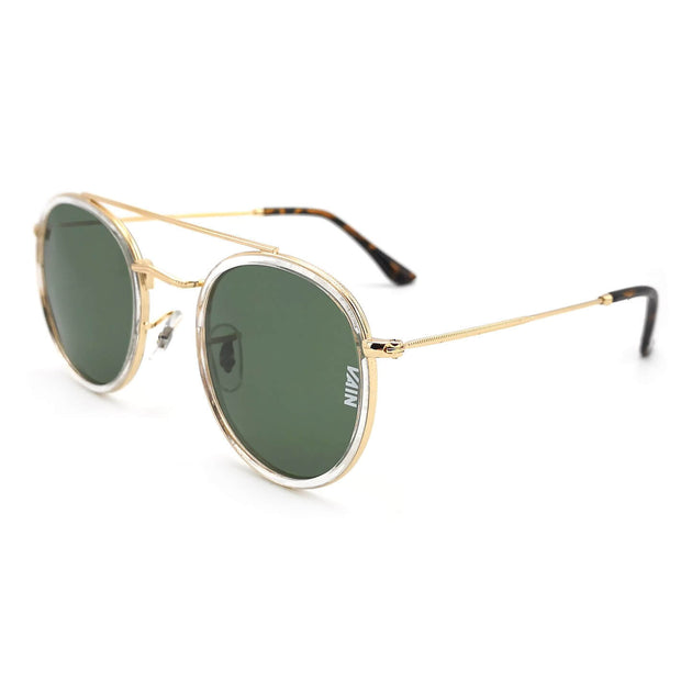 Dublin trendy round sunglasses from VAIN, classic looking sunglasses with transparant, green and gold, polarized, CE3 & UV400