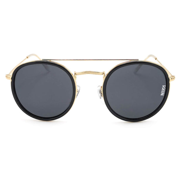 Dublin trendy round sunglasses from VAIN, classic looking sunglasses with gold & black, polarized, CE3 & UV400