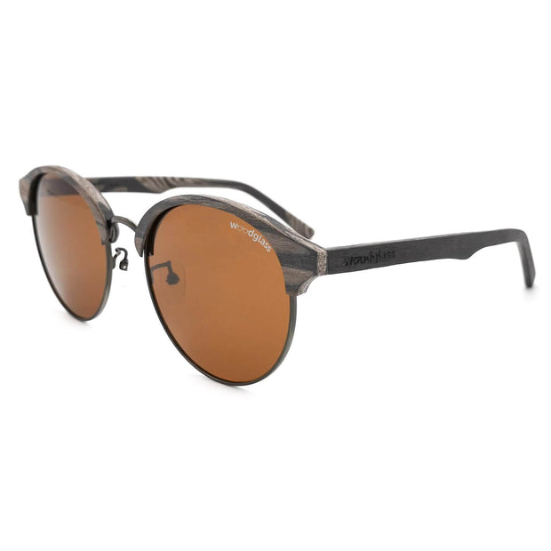 round clubmaster wooden sunglasses