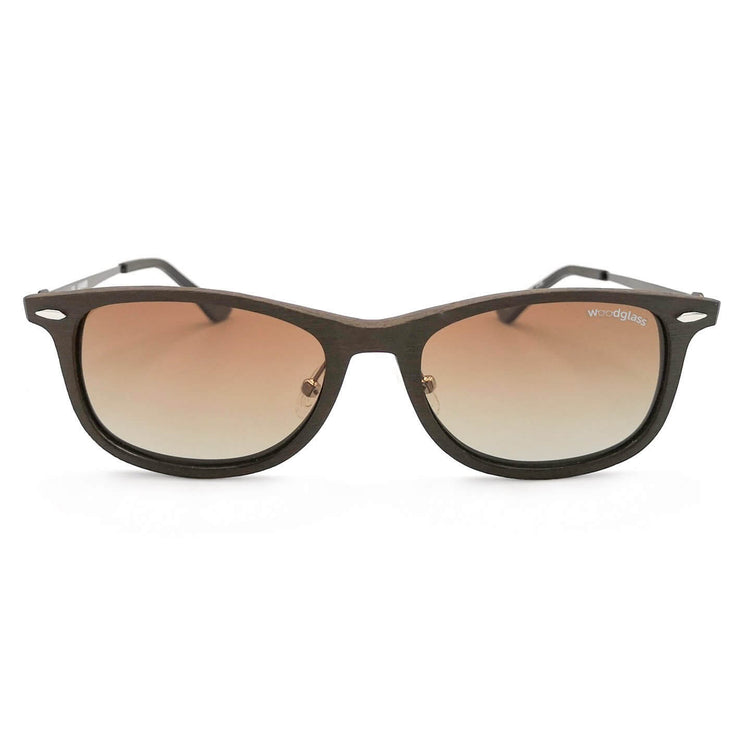 Lewa wooden immitation sunglasses with wood look, Woodglass dark oak log square style sunglasses with gradient brown lens CE3 UV400