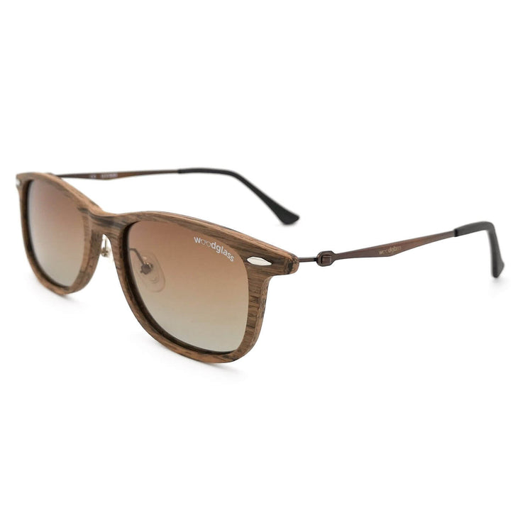 Lewa wooden immitation sunglasses with wood look, Woodglass Cherry Charcoal log square style sunglasses with gradient brown lens CE3 UV400