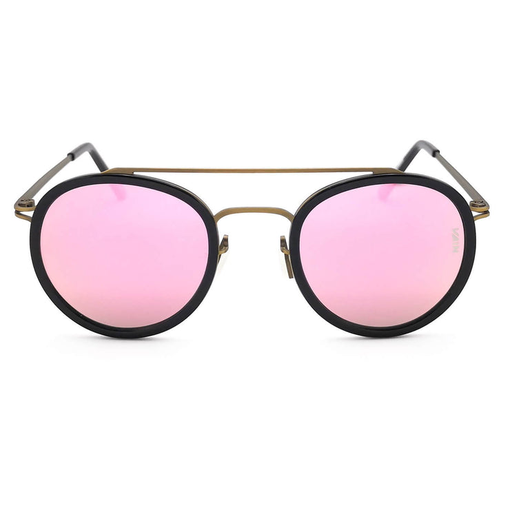 Pink mirror round sunglasses