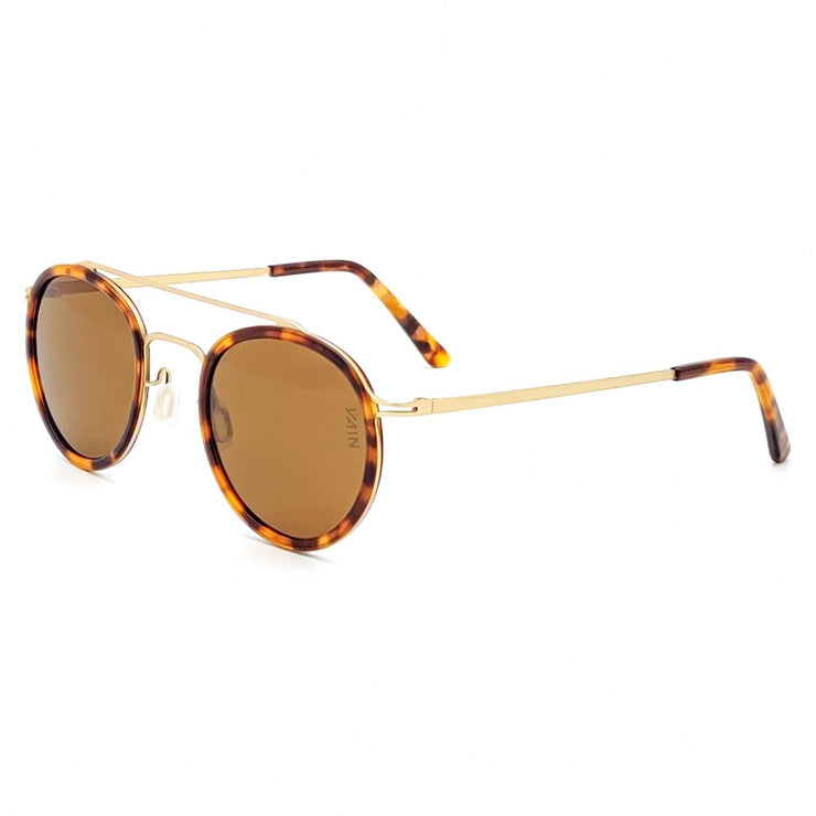 Turtoise aviator style sunglasses with round shape, from VAIN