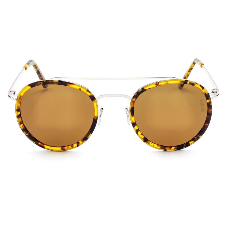 Turtoise yellow aviator style sunglasses with round shape, from VAIN