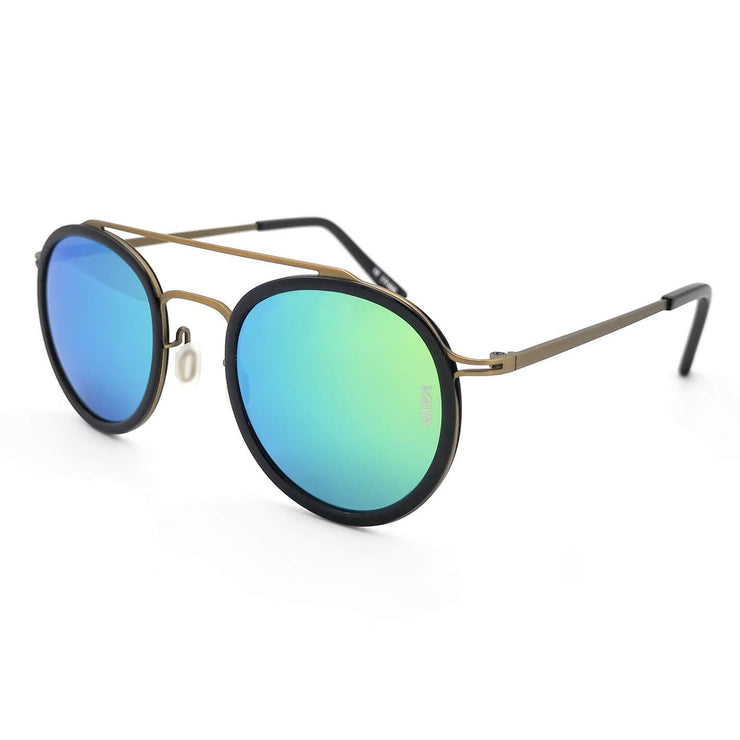 London Aviator & Round style sunglasses form VAIN with green ice blue mirror lenses (UV400, CE3 & Polarized)