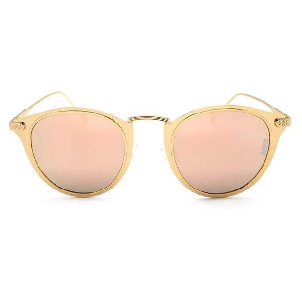 Mexico cat style sunglasses VAIN for trendy and fashionable sunglasses, gold look with pink mirror lens.