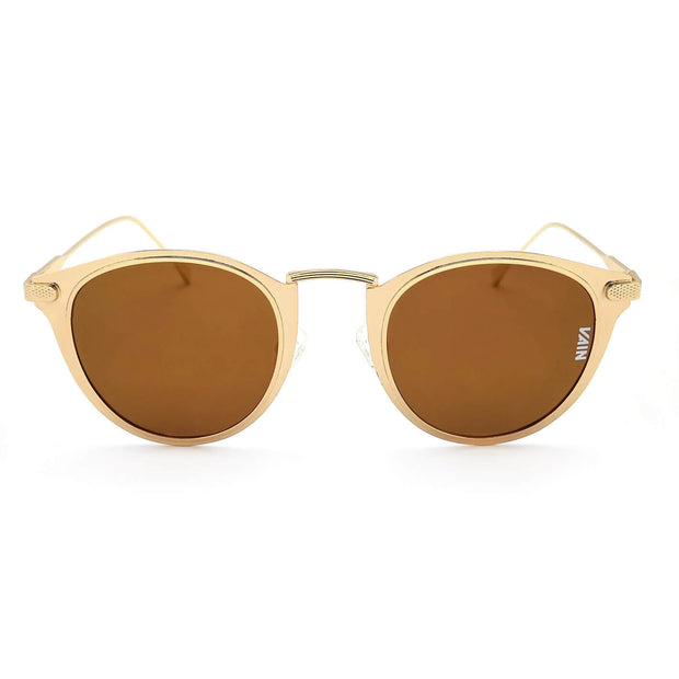 Mexico cat style sunglasses VAIN for trendy and fashionable sunglasses, gold look with brown mirror lens. UV400 CE3