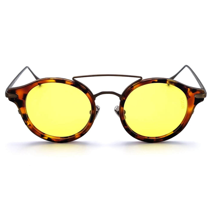 Monaco round sunglasses from VAIN, turtoise frame with old looking metal and yellow lenses (polarized, UV400 & CE2)