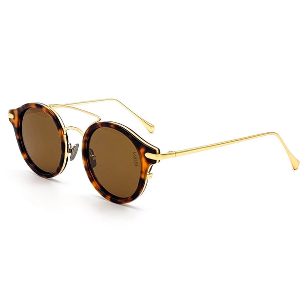 Monaco round sunglasses from VAIN, turtoise frame with gold looking metal and brown lenses (polarized, UV400 & CE3)