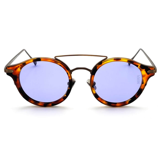 Monaco round sunglasses from VAIN, turtoise frame with old looking metal and purple lenses (polarized, UV400 & CE2)