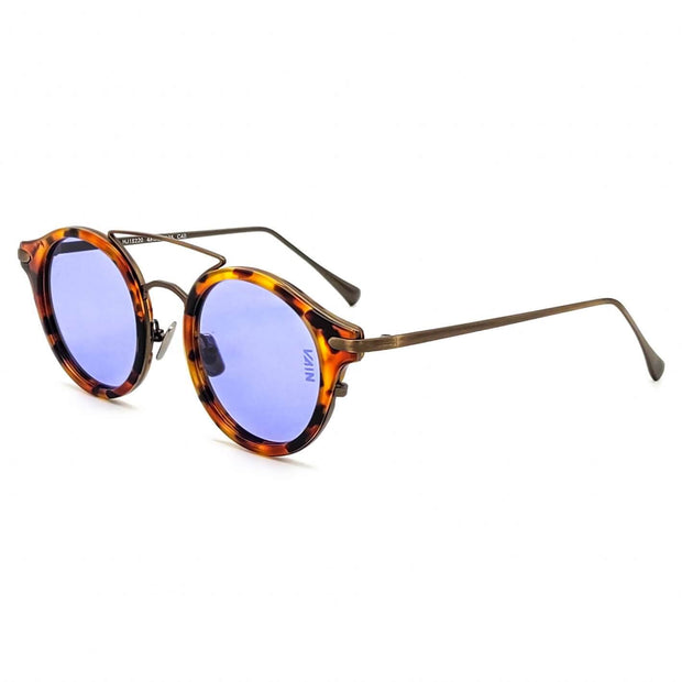 Turtoise and blue round sunglasses
