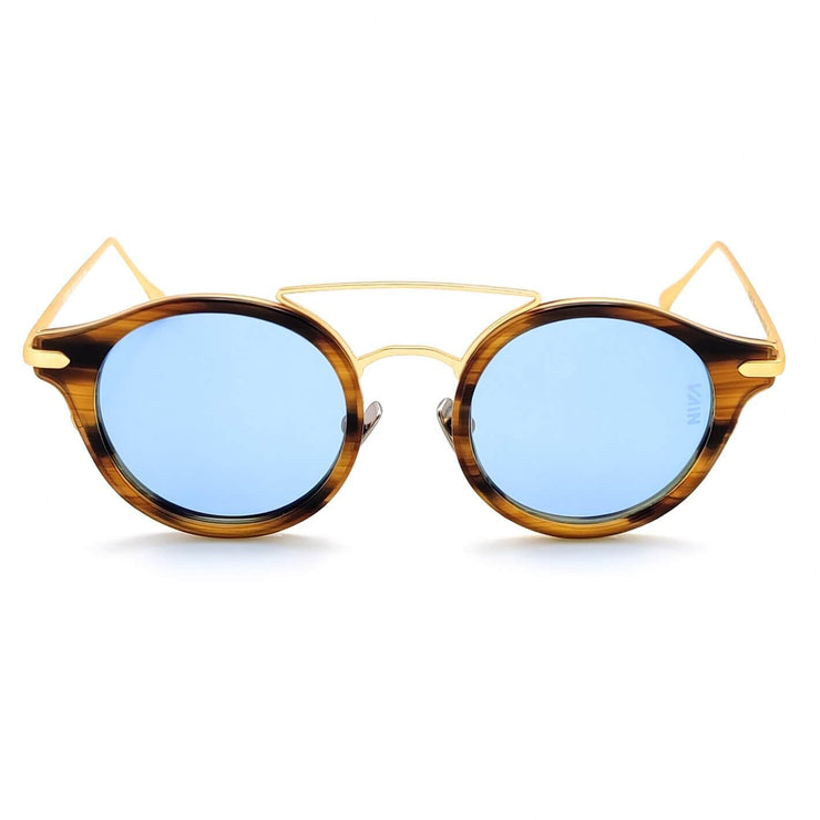 Monaco round sunglasses from VAIN, striped turtoise frame with old looking metal and blue lenses (polarized, UV400 & CE2)