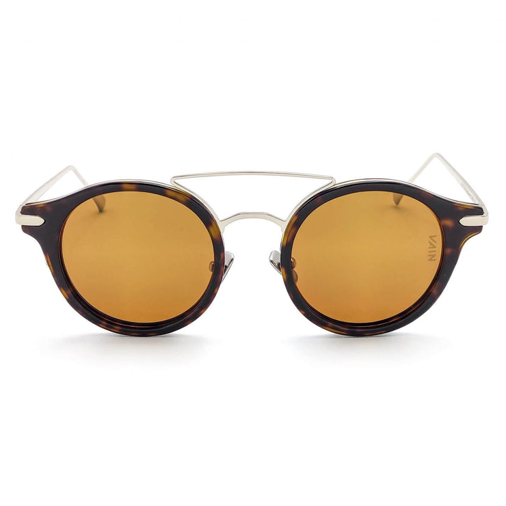 Monaco round sunglasses from VAIN, turtoise frame with silver looking metal and brown lenses (polarized, UV400 & CE3)