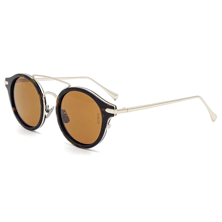 Silver and brown aviator