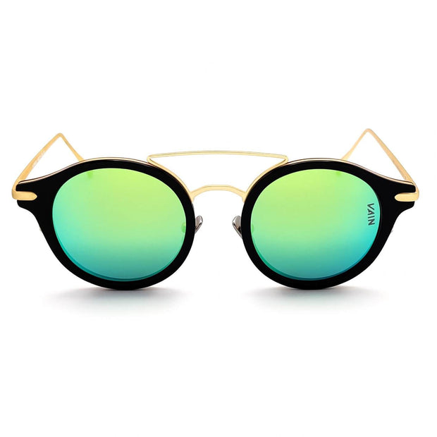 Monaco round style sunglasses from VAIN, unique luxury sunglasses with ice blue and grass green mirror lens (Polarized, CE3 & UV400 protected)
