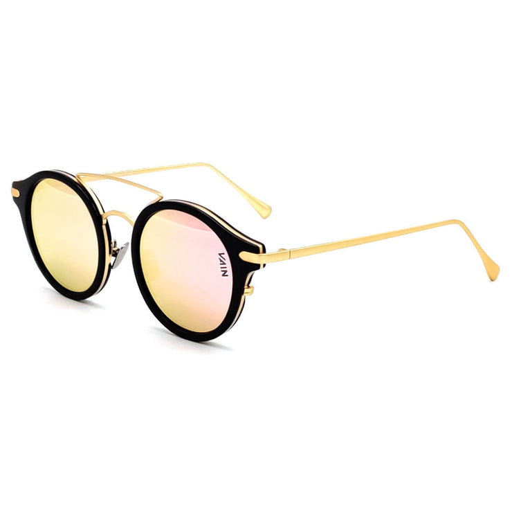 Monaco round style sunglasses from VAIN, unique luxury sunglasses with Rose gold mirror lens (Polarized, CE3 & UV400 protected)
