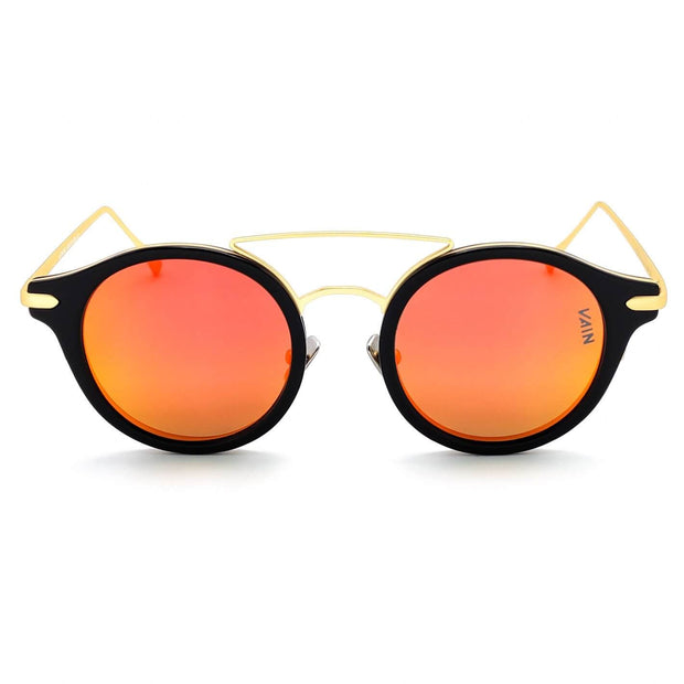 Monaco round style sunglasses from VAIN, unique luxury sunglasses with Sunset Orange mirror lens (Polarized, CE3 & UV400 protected)