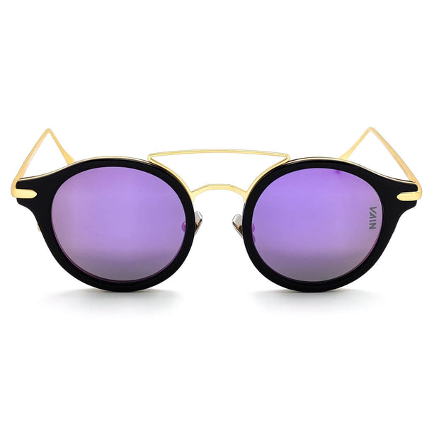 Monaco round style sunglasses from VAIN, unique luxury sunglasses with Midnight Purple mirror lens (Polarized, CE3 & UV400 protected)