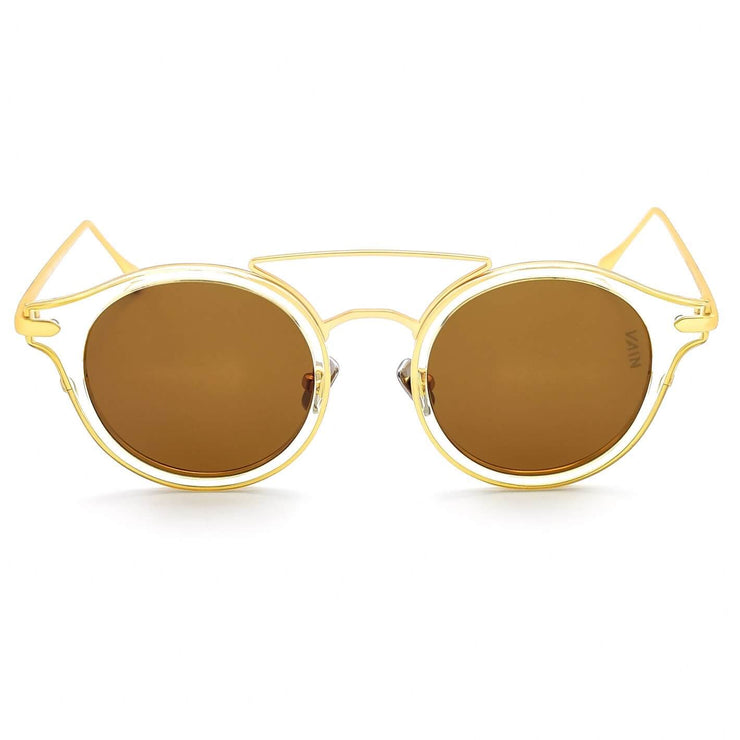 Monaco round fashion luxury sunglasses form VAIN with transparant frame and gold outlines, brown lens (CE3, UV400 & Polarized)