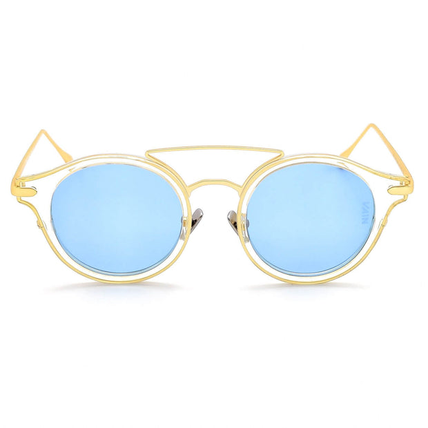 Monaco round fashion luxury sunglasses form VAIN with transparant frame and gold outlines, blue lens (CE2, UV400 & Polarized)