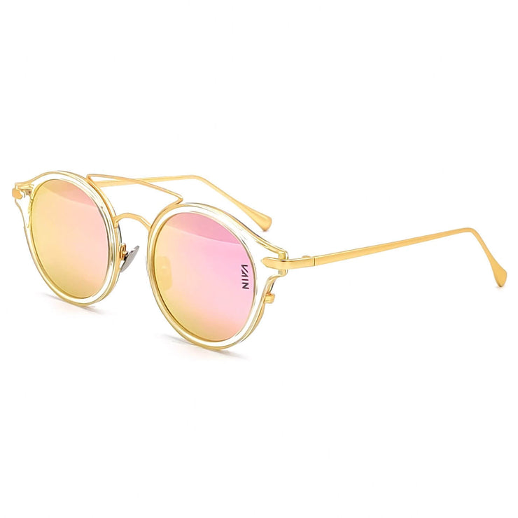 Monaco round fashion luxury sunglasses form VAIN with transparant frame and gold outlines, pink mirror lens (CE3, UV400 & Polarized)