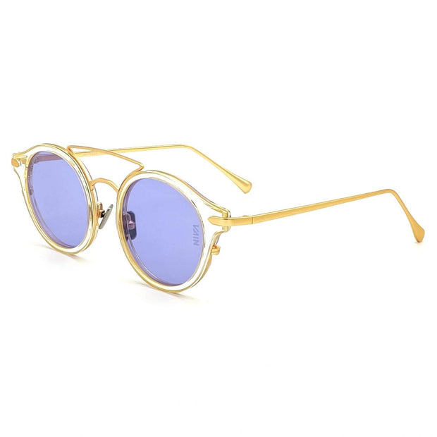 Monaco round fashion luxury sunglasses form VAIN with transparant frame and gold outlines, purple lens (CE2, UV400 & Polarized)