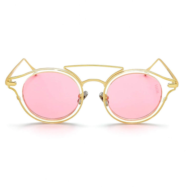 Monaco round fashion luxury sunglasses form VAIN with transparant frame and gold outlines, pink lens (CE2, UV400 & Polarized)