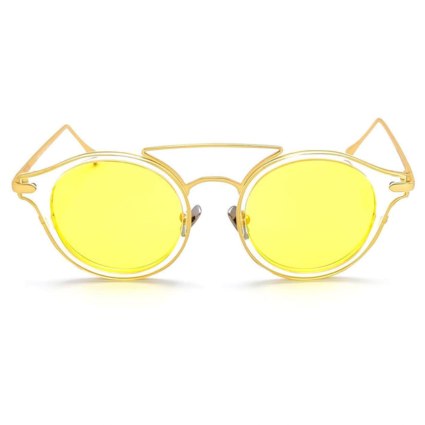 Yellow lens round sunglasses