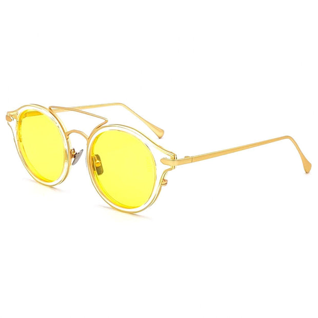 Monaco round fashion luxury sunglasses form VAIN with transparant frame and gold outlines, yellow lens (CE2, UV400 & Polarized)