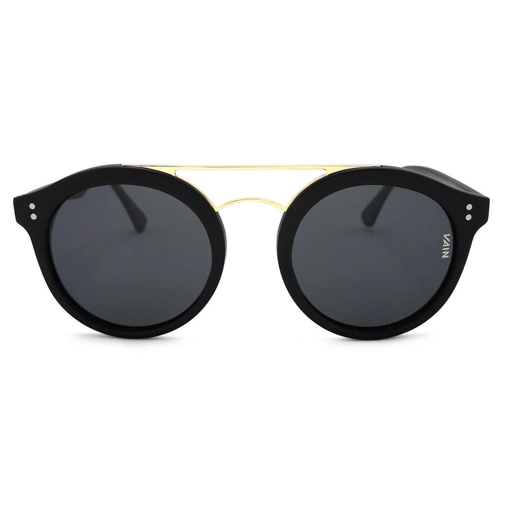 Black gold round sunglasses