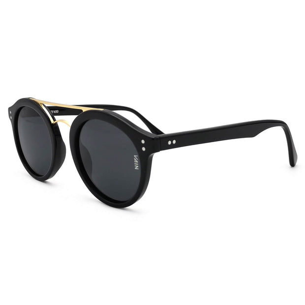 Newcastle cool and trendy glossy black sunglasses form VAIN sunglasses