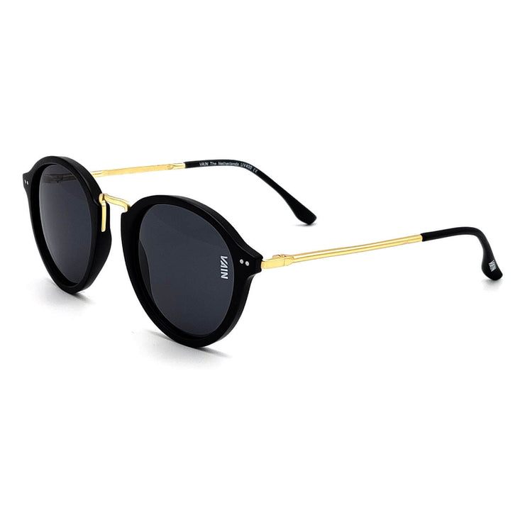 Paris Fashion Round Sunglasses Black Gold Grey Lens