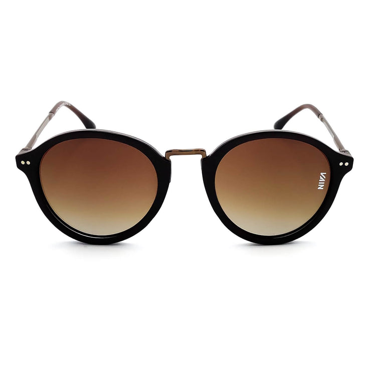 Paris Fashion Round Sunglasses Brown Frame Brown Metal Temple Gradient Brown Lens front view