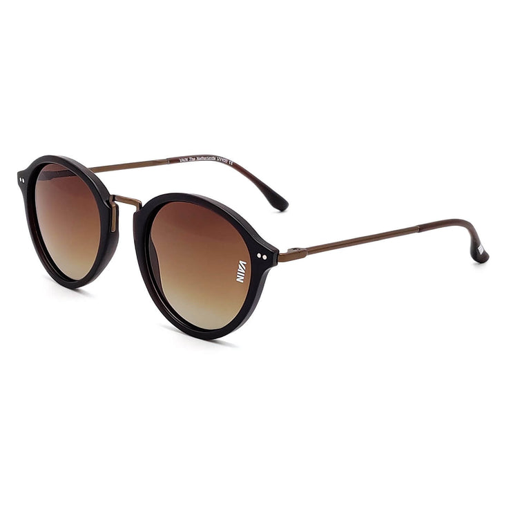 Paris Fashion Round Sunglasses Brown Frame Brown Metal Temple Gradient Brown Lens Side view