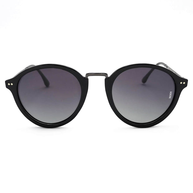Paris Fashion Round Sunglasses black Frame dark black Metal Temple Gradient grey Lens front view