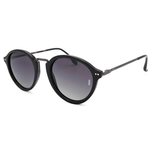 Paris Fashion Round Sunglasses black Frame dark black Metal Temple Gradient grey Lens side view
