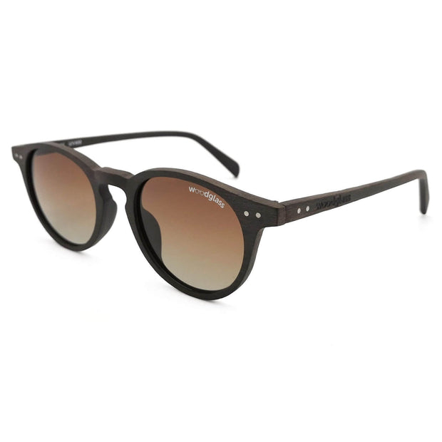 Brown wooden wayfarer sunglasses