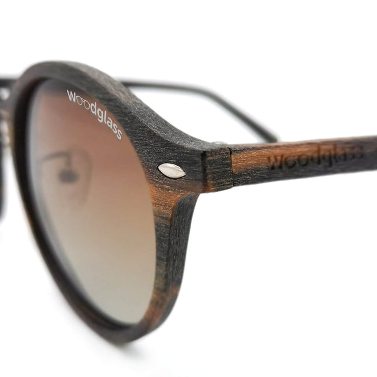 Oak wooden round sunglasses
