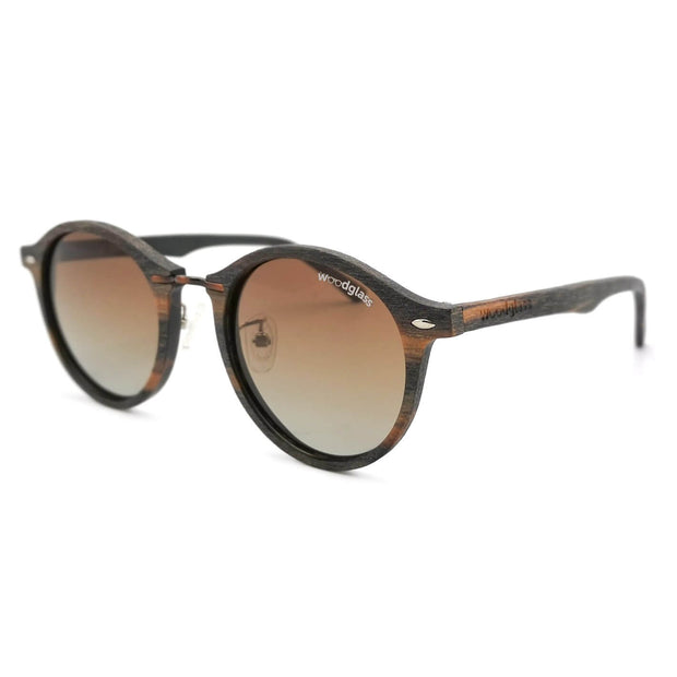 Taman timber wood immitation sunglasses with copper metal and gradient brown lenses that are polarized, UV400 and CE3 protected