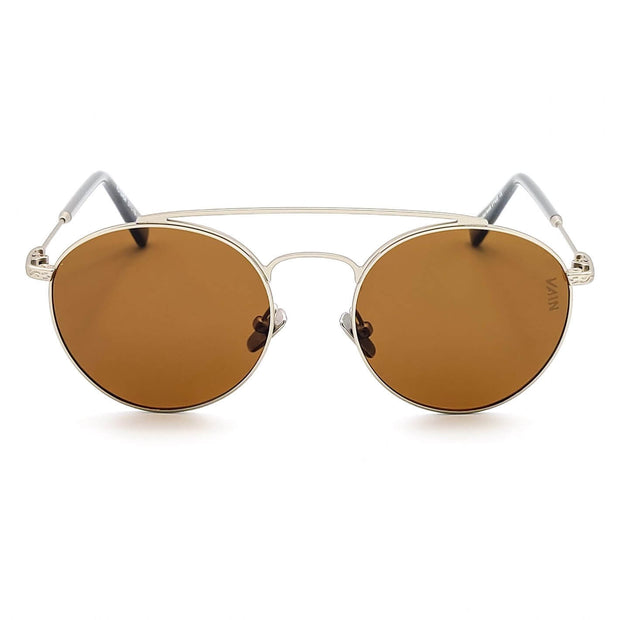 Dallas aviator style sunglasses for cowboys VAIN fashion sunglasses with brown lens and gold looking metal frame