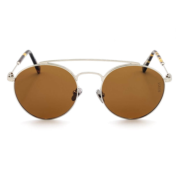 Dallas aviator style sunglasses for cowboys VAIN fashion sunglasses with brown lens, silver looking metal frame and turtoise ear rests